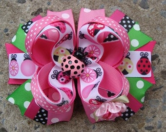 Lady bug hair bow Large hair bow Pink and Green Lady Bug Boutique Stacked Hair Bow Hair Clip