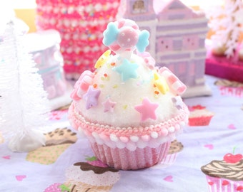 Fairy Kei Pastel Pink Cupcake Hair Clip  Made to order limited quantity