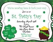 St. Patricks Day party invitation -  St. Patricks Day Birthday Invitation St. Pat's Day shamrock-  You print or I print