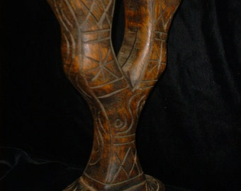 Old Patina Wood Candle Holder Carved with Designs Africa?