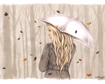Touch of Autumn Tree Leaves Fall Autumn Girl Emo Art Print Glossy Emo Zindy Nielsen
