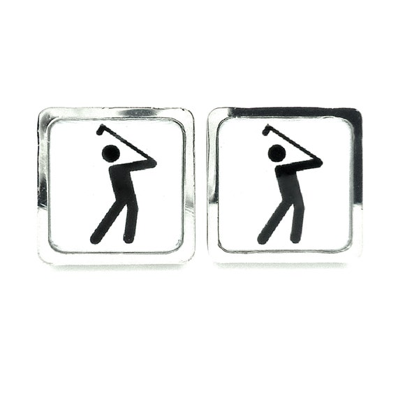 Golfer Cufflinks - Mens Golfing Gifts - Black and White - Sporty Accessories