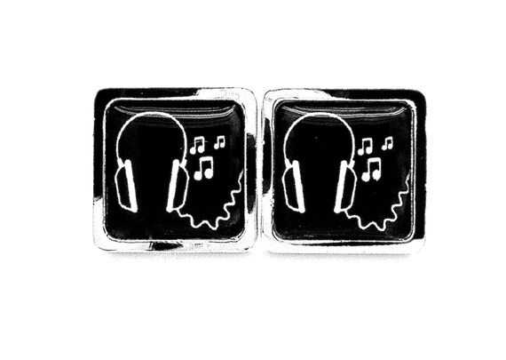 Headphone Cufflinks - Black and White - Mens Accessories - Musical Gift