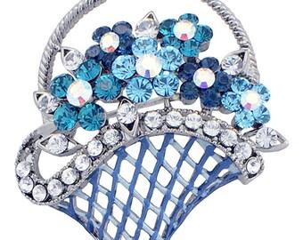 Blue Flower Basket Swarovski Crystal Pin Brooch 1010561