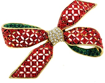 Red Green Bow Crystal Brooch Pin 1002412