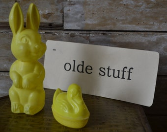 Vintage Easter Bunny and Duck Plastic Candy Containers 1950s or 60s