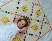 Infant Baby Nursery Heirloom Crib Quilt, Cat and Mouse, Hand Pieced-Quilted and Applique, 39x45 inches, One of A Kind