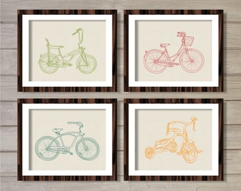 Colorful Vintage Bicycles Bikes Printable Wall Art Set of 4-8x10- Instant Download Digital Print Faux Canvas Living Room Decor Home Design