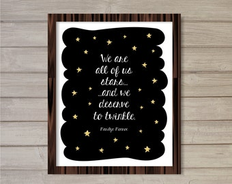 Marilyn Monroe Quote Wall Art Printable Instant Download- We are stars and we deserve to twinkle -8x10- Home Decor Motivational Inspiration