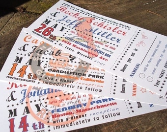 Baseball Ticket Wedding Invitation | Starts at 3.75 each | Sample | Perforated Ticket Stub | Customize with your favorite team
