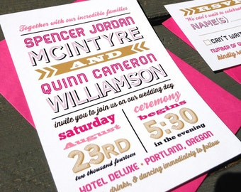 Hipster Wedding Invitation | Starts at 3.75 each | Modern Wedding Invitation | Sample | Pink and Gold Typography