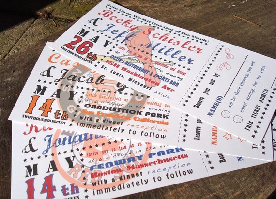 Baseball Ticket Wedding Invitation   Starts at 3.75 each   Sample   Perforated Ticket Stub   Customize with your favorite team