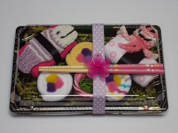 New Baby Girl Sushi Gift - Shower Favor with Purple Tawashi Fish - Seafood Duo