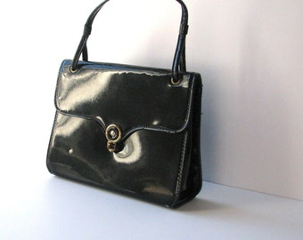 Vintage Patent Leather Purse, Black Patent Handbag from the 50s or 60s