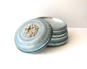 Vintage Music Powder Box, Light Gray Blue Metal with Rhinestone and Pearl Decoration
