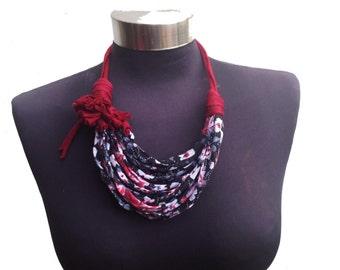 elegant flower pattern fabric recycle necklace - bordo fabric flower-black withe bordo-women fashion-ethnic jewelry-elegant african necklace