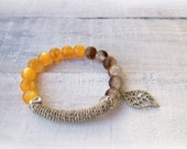 Bohemian Beaded Bracelet, Moonglow Crackle Beads Hemp Tube Bar Leaf Charm, orange brown bangle