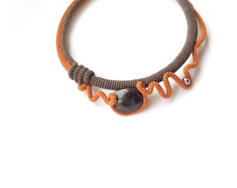 Abstract Crochet Choker Necklace Celosia Orange Brown, Fall fashion Wearable Art Gift for her