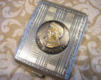 Vintage Silver ELVIS PRESLEY Match Holder Case Fob Pendant