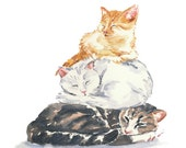 Cat Watercolor PRINT - 11x14 Print, Cat Nap, Nursery Art, Cat Illustration