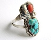 Vintage Sterling Silver Navajo Ring - Natural Turquoise & Coral - Long Elongated - Size 7 - 925 Unisex Jewelry - Southwestern Style