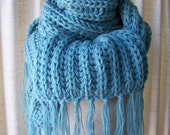 Sale: CHUNKY SOFT Hand Knit Giant SCARF in Blue Wool Blend