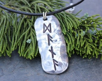 Handmade silver huge four 4 rune runic pendant necklace- personalized - your name or word or series of runes - free shipping USA