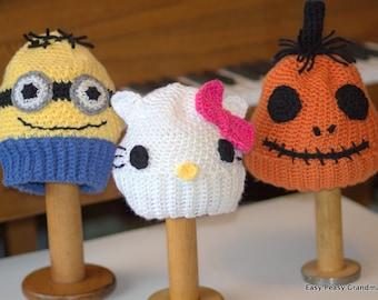 CROCHET PATTERN-  brim hat, cyclops, pumpkin, kitty, 4 sizes, PDF, instant download