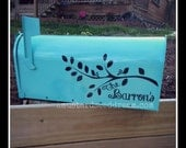 Personalized Mailbox Decal with Branch and Birds - Vinyl Wall Art, Graphics, Lettering, Decals, Stickers