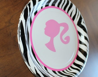 "Zebra  Barbie Party Dessert  Paper Plates 9 -inch  ""A la Carte"""