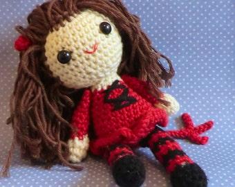 Halloween Amigurumi Crochet Pattern : Scarlet witch wanda maximoff amigurumi style pdf crochet