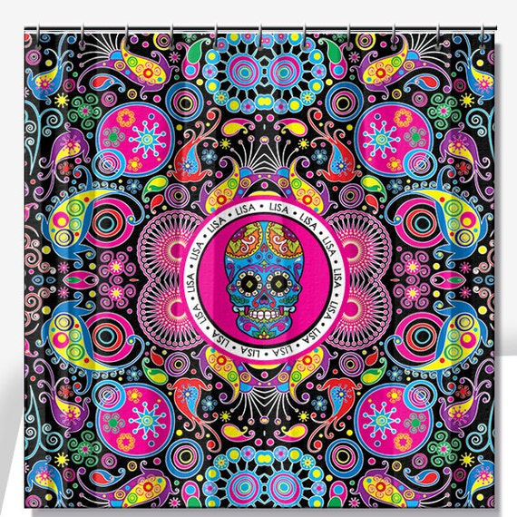 Sugar Skull Personalized Shower Curtain 70x70 By Limerikeedesigns