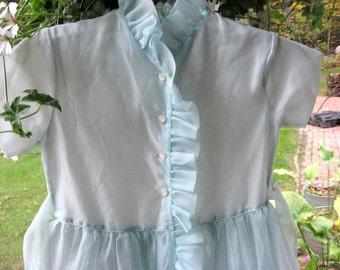 Flower Girl Dress / Sweet Pale Blue Chiffony Dress / Vintage Party Dress / Button Detail