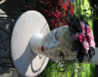 Black Fascinator / 60's Pink Floral Hat With Black Veil / Pink  Carnations On Black Netting / Floral Fascinator / Alluring Hat / Made in USA