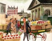 vintage LONDON print of Covent Garden London market tourist landmark