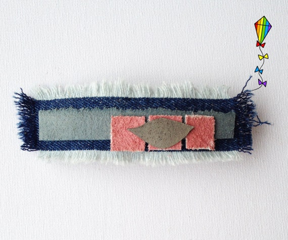 Large Hair Clip Denim & Reclaimed Leather - Dawn Window Design