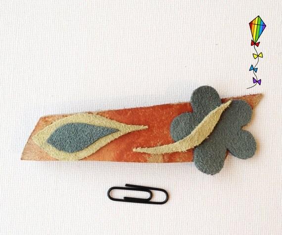 Medium Chunky Hair Clip - Springtime Design made from Reclaimed Leather