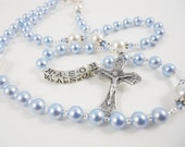 Personalized Rosary in Blue and White Swarovski Pearls - Baptism, First Communion, Confirmation