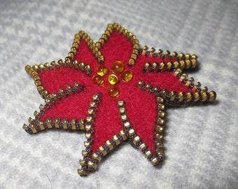 Zipper/Recycled Felted Wool Sweater Zipper Brooch/Pin- Red Poinsettia Flower