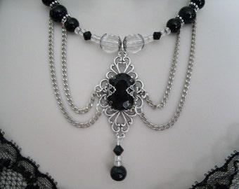 Night Kiss Necklace, gothic jewelry, victorian jewelry, renaissance jewelry, medieval, edwardian, neo victorian, art deco, art nouveau, goth