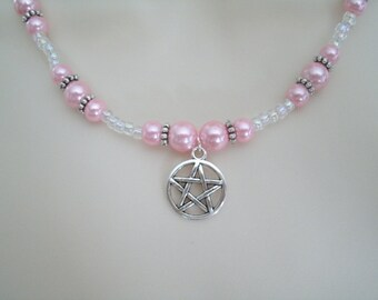Pink Pentacle Necklace, wiccan jewelry pagan jewelry wicca jewelry witch goddess pentagram witchcraft metaphysical magic handfasting