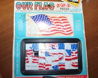 American Flag Roalex Puzzle VIntage Toy Zig-Zaw Puzzle