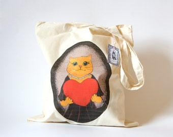 Lady Cat in a Dress reusable shopper bag, ginger exotic cat
