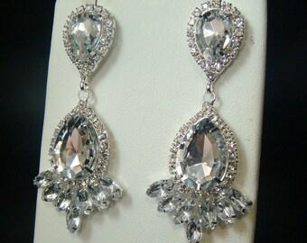 Hollywood Bridal Chandelier Earrings in Silver / rhinestone teardrop earrings rhinestone pear earrings post earrings