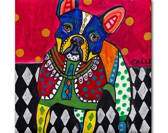 French Bulldog Angel art Tile Ceramic Coaster Mexican Folk Art Print of painting by Heather Galler dog
