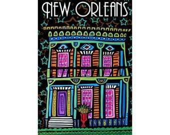 Mardi Gras New Orleans Art Poster Print of French Quarter Painting by Heather Galler Abstract Art Deco Modern Folk Art (HG607)