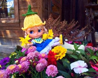 Crochet Tulip Hat Beanie Helmet for Blythe Doll