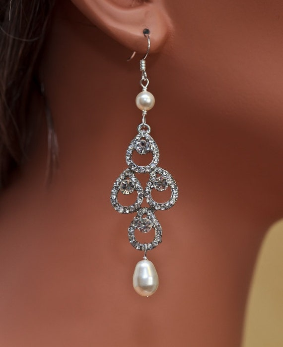 Bella Crystal Ring Chandelier: Bridal Rhinestone Earrings Pearl Earrings By