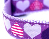 Purple Hearts Dog Collar, Raspberry Lavender Pet Collar, Adjutable