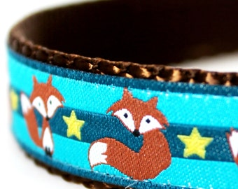 Fox and Stars Dog Collar / Teal Blue / Adjustable Dog Collar / European Ribbon